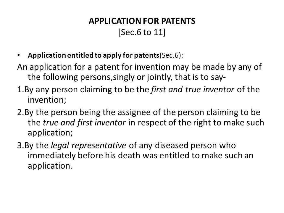 APPLICATION FOR PATENTS [Sec.6 to 11]